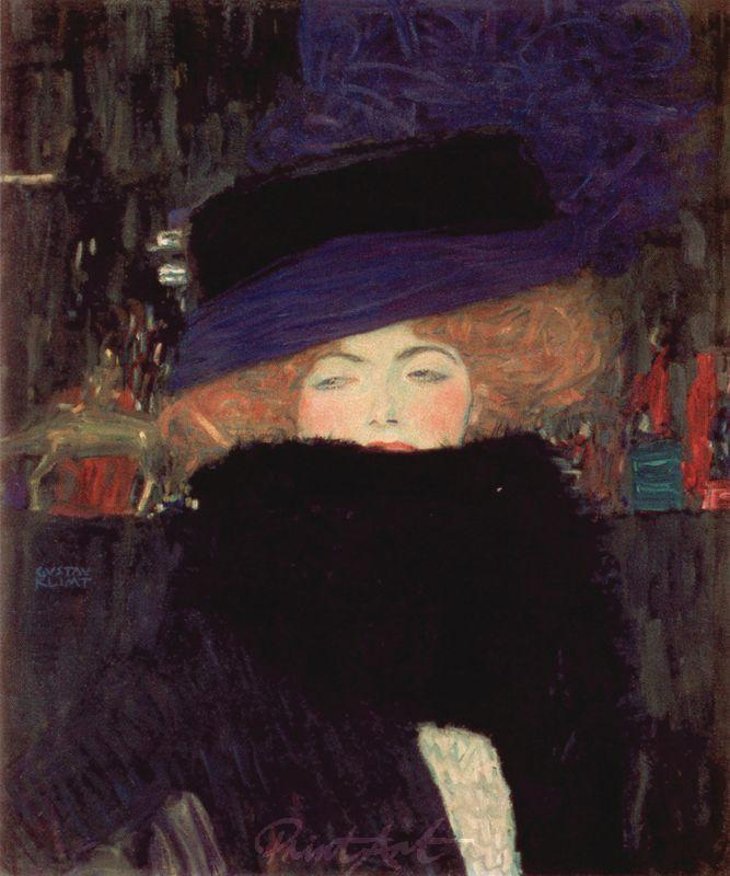 Dame mit Hut und Federboa Klimt Gustav