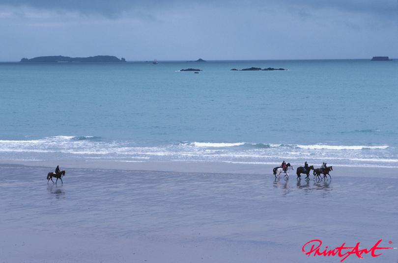 Reiter am Strand Pferde