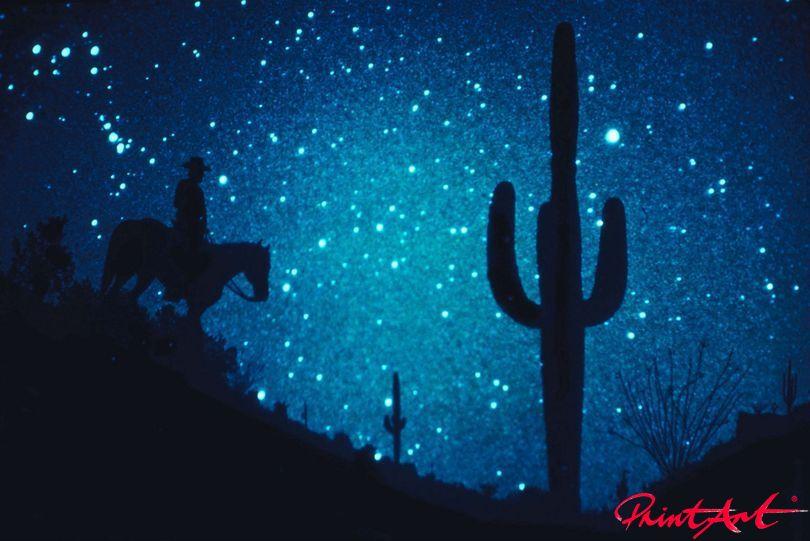 Reiter vor Sternhimmel Pferde