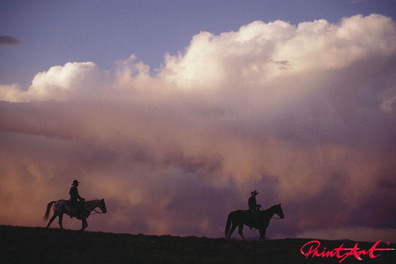 Reiter vor Wolkenwand Pferde