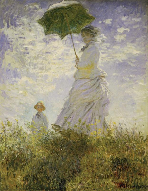 Der Spaziergang. Frau mit Sonnenschrim Monet Claude