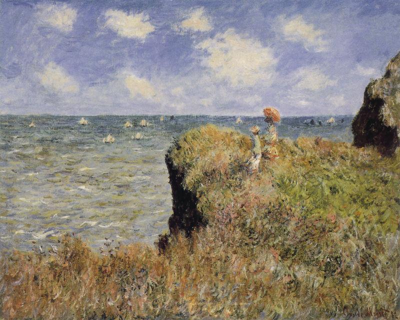 Spaziergang über die Felsen von Pourville Monet Claude