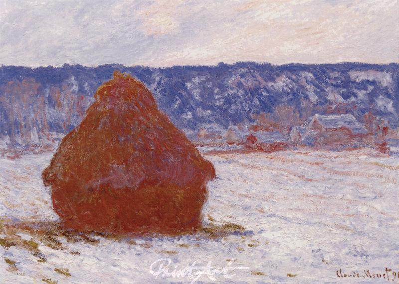 Heuhaufen, Schnee, Bedeckter Himmel Monet Claude