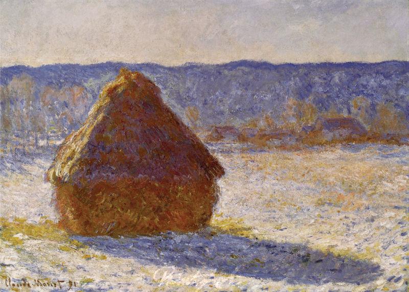 Verschneiter Heuhaufen am Morgen Monet Claude