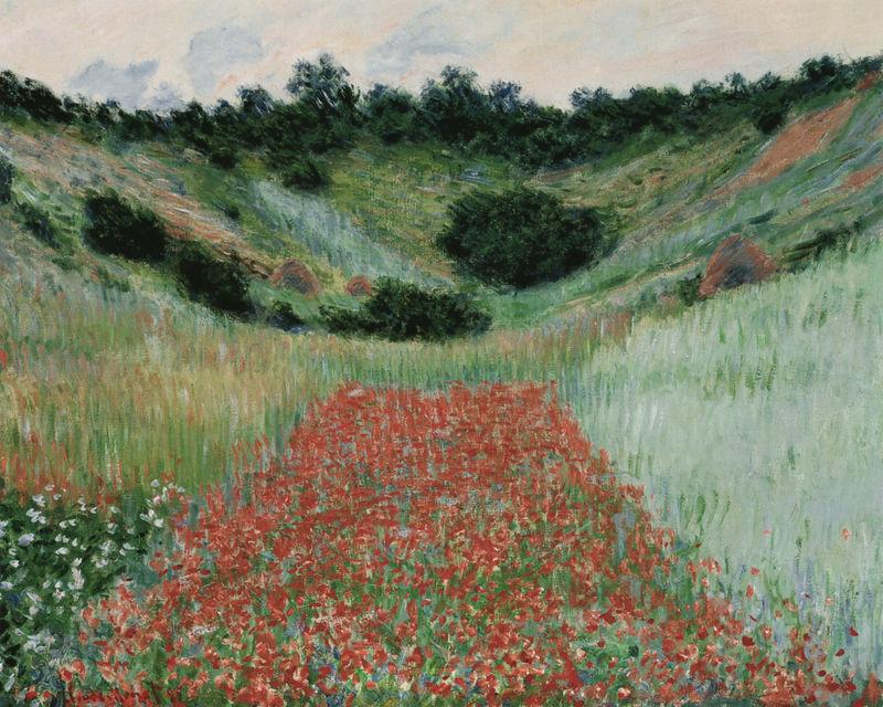 Mohnblumenfeld in einem Tal bei Giverny Monet Claude