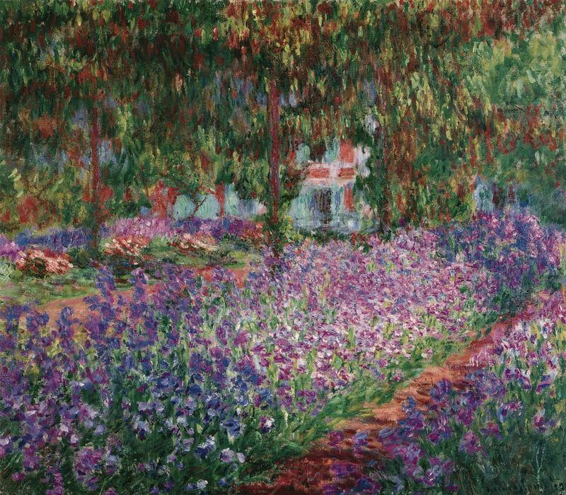 Irisbeet im Garten des Künstlers Monet Claude