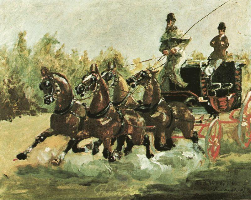 Graf Alphonse de Toulouse-Lautrec lenkt einen Vierspänner Lautrec Toulouse