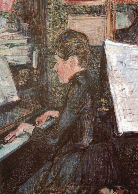 Mademoiselle Marie Dihau am Klavier Lautrec Toulouse