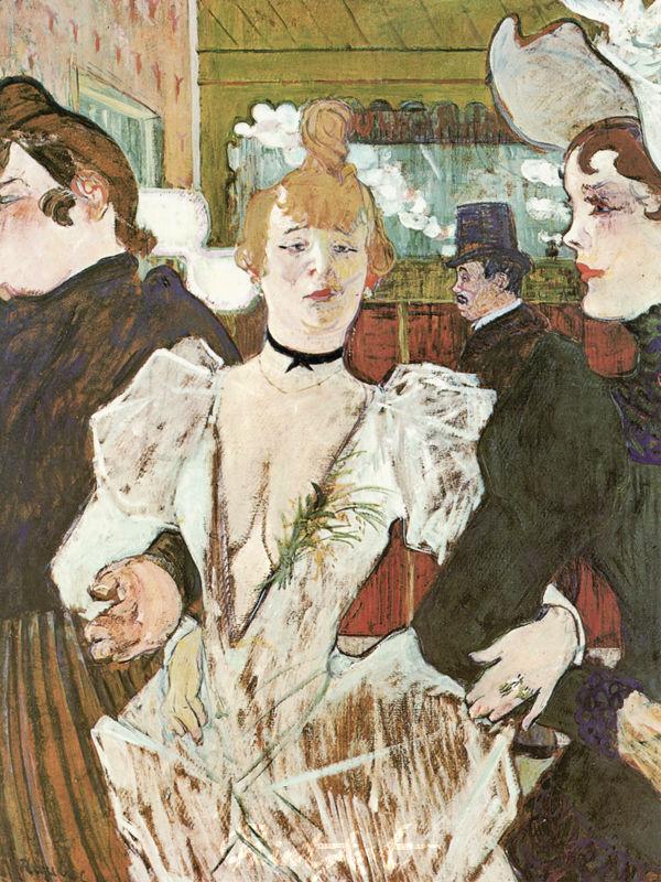 """La Goulue betritt mit zwei Frauen das """"Moulin Rouge"""" Lautrec Toulouse"""