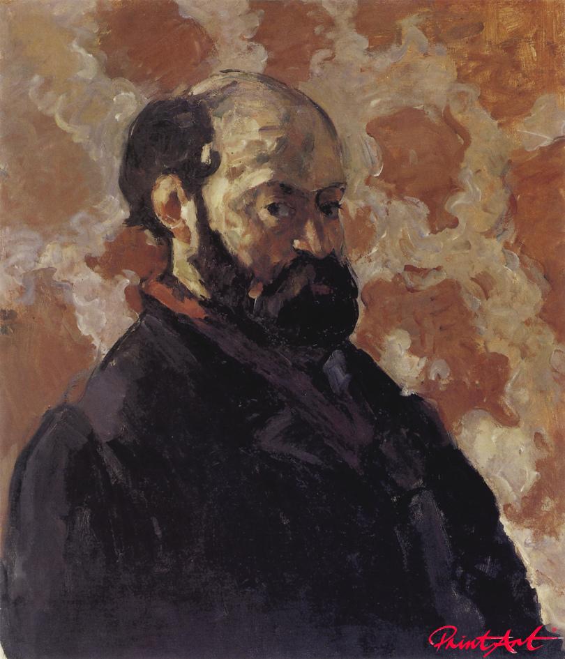 Selbstbildnis vor blassrotem Hintergrund Cezanne Paul