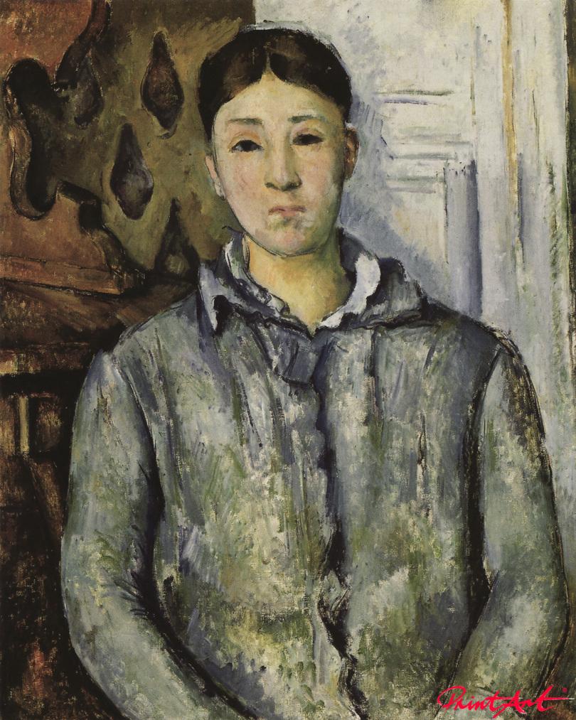 Madame Cézanne in blauer Jacke Cezanne Paul
