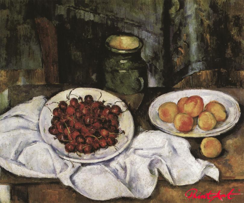 Stilleben mit Kirschen und Pfirsichen Cezanne Paul