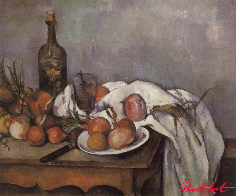 Stilleben mit Zwiebeln und Flasche Cezanne Paul