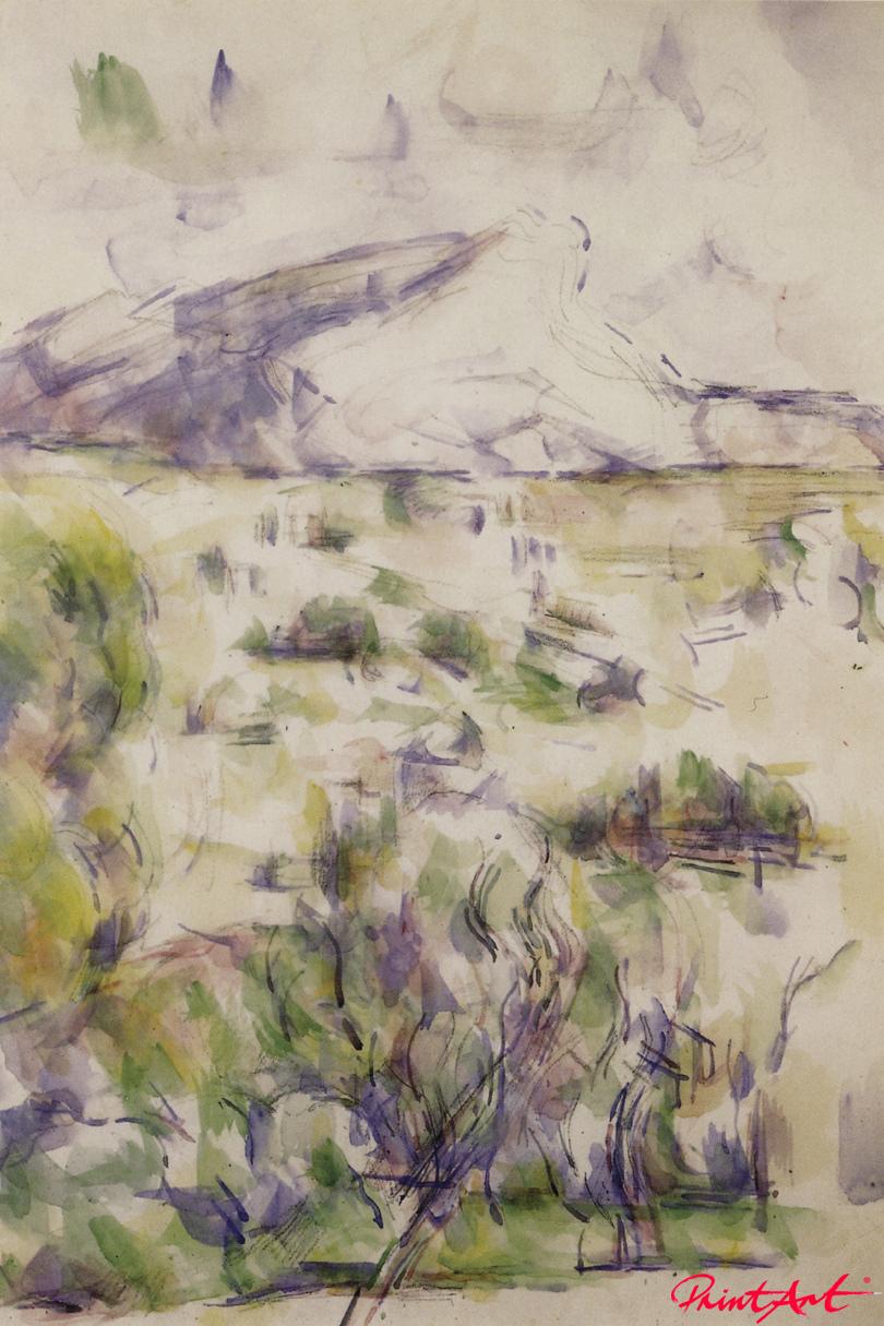Die Montagne Sainte-Victoire, von Les Lauves aus gesehen Cezanne Paul