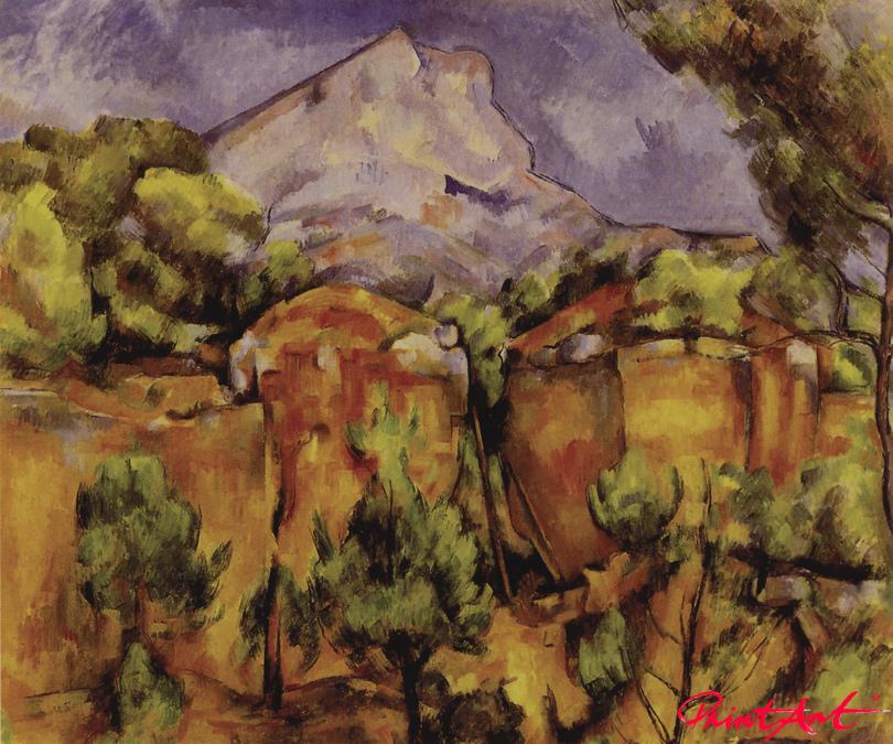 Die Montagne Sainte-Victoire, vom Steinbruch Bibémus aus gesehen Cezanne Paul