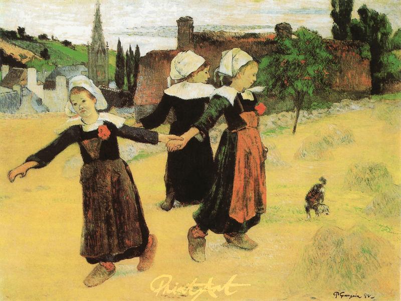 Tanzspiel dreier bretonischer Mädchen Gauguin Paul