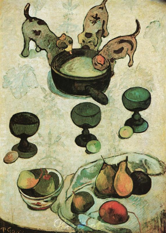 Stilleben mit drei Hündchen Gauguin Paul
