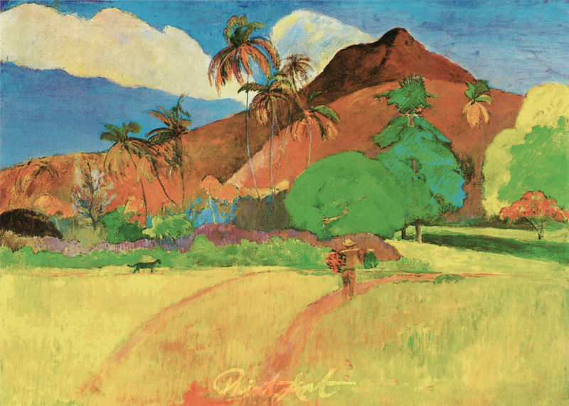 Tahitianische Landschaft mit Gebirge Gauguin Paul