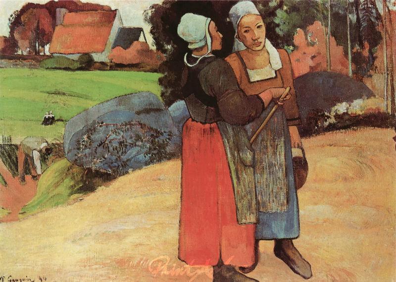Zwei Bretoninnen auf der Strasse Gauguin Paul