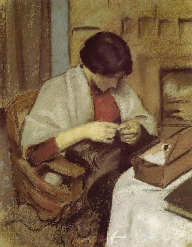 Elisabeth Gerhard, nähend Macke August