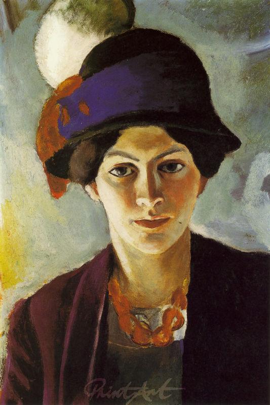 Porträt: Frau des Künstlers mit Hut Macke August