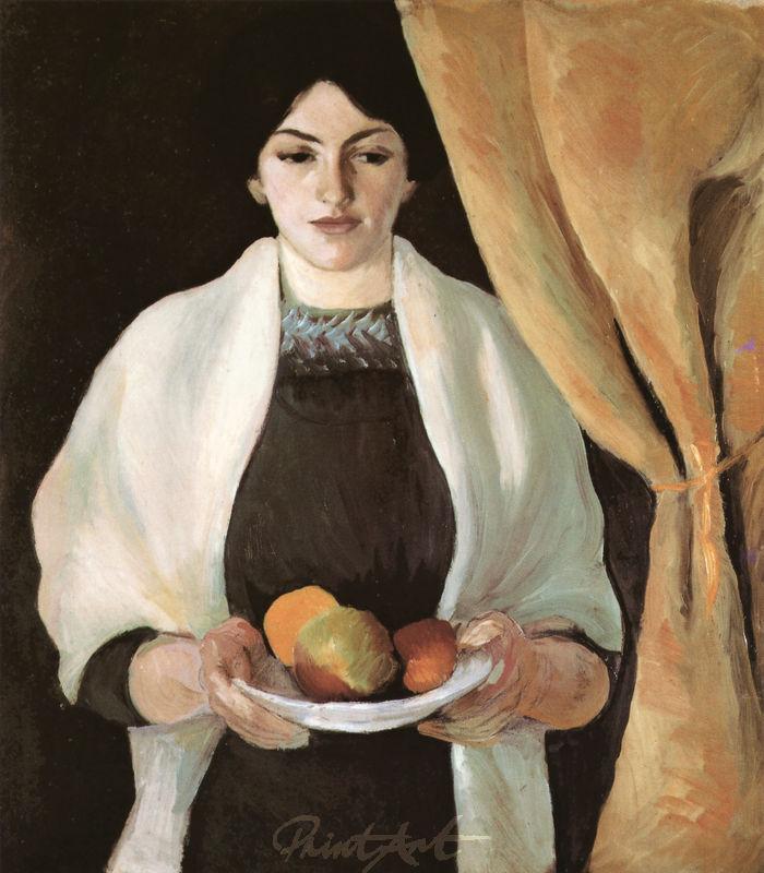 Porträt mit Äpfeln: Frau des Künstlers Macke August
