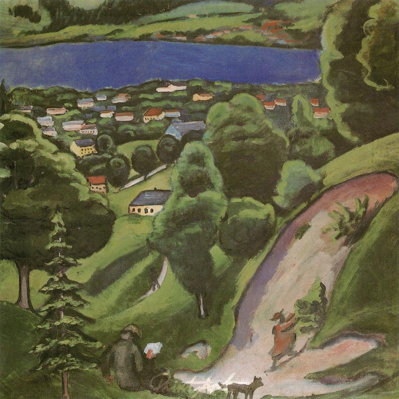 Landschaft am Tegernsee mit lesendem Mann und Hund Macke August