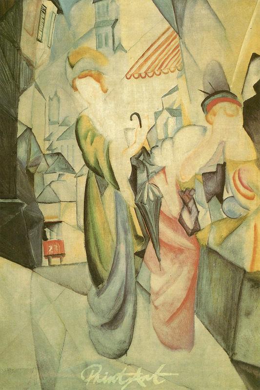 Helle Frauen vor dem Hutladen Macke August