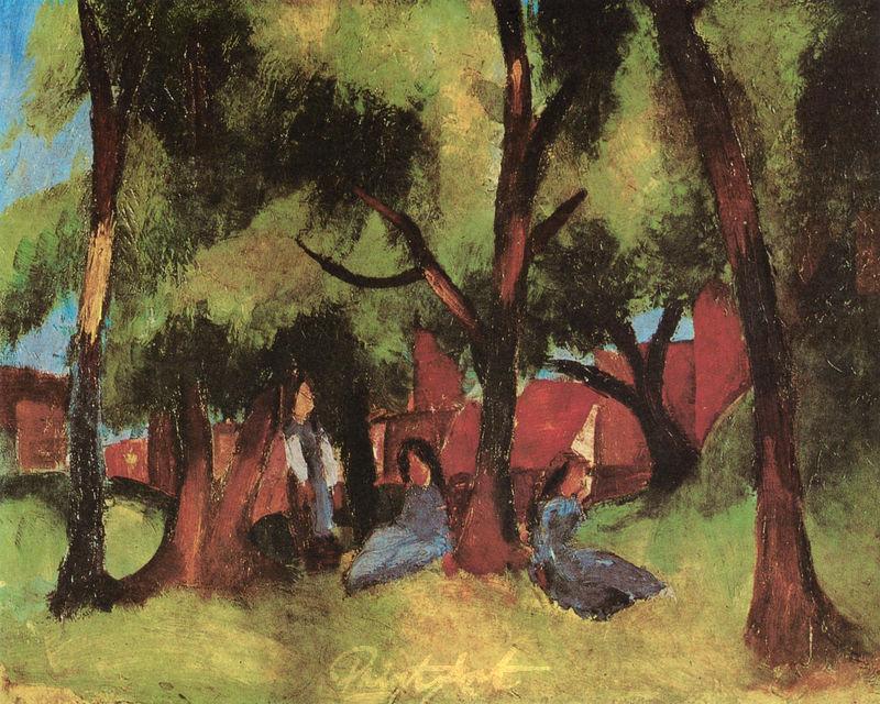 Kinder unter sonnigen Bäumen Macke August