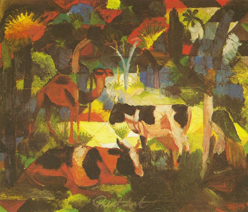 Landschaft mit Kühen und Kamel Macke August
