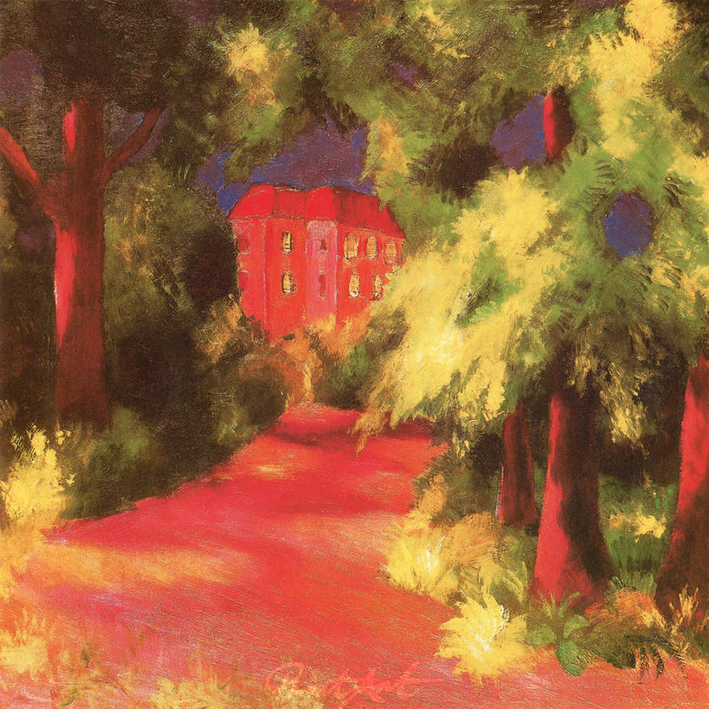 Rotes Haus im Park Macke August