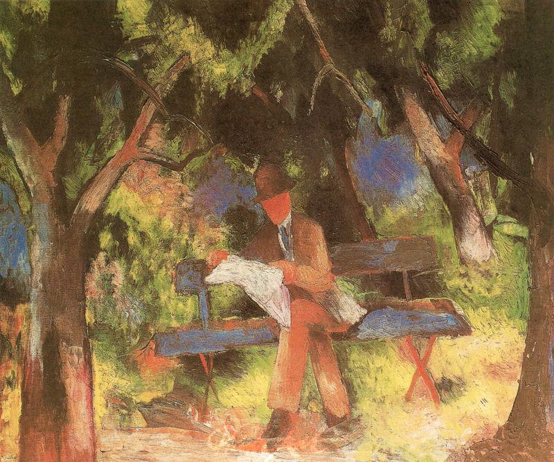 Lesender Mann im Park Macke August