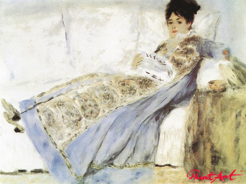 """Madame Monet, den """"Figaro"""" lesend Renoir Pierre Auguste"""