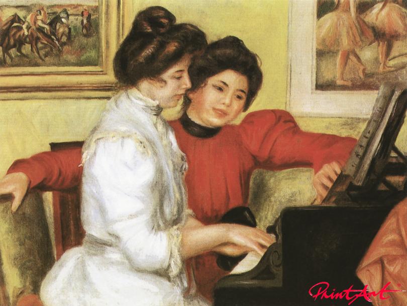 Yvonne und Christine Lerolle am Klavier Renoir Pierre Auguste