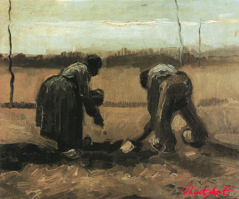 Bäuerin und Bauer beim Kartoffellegen Van Gogh Vincent
