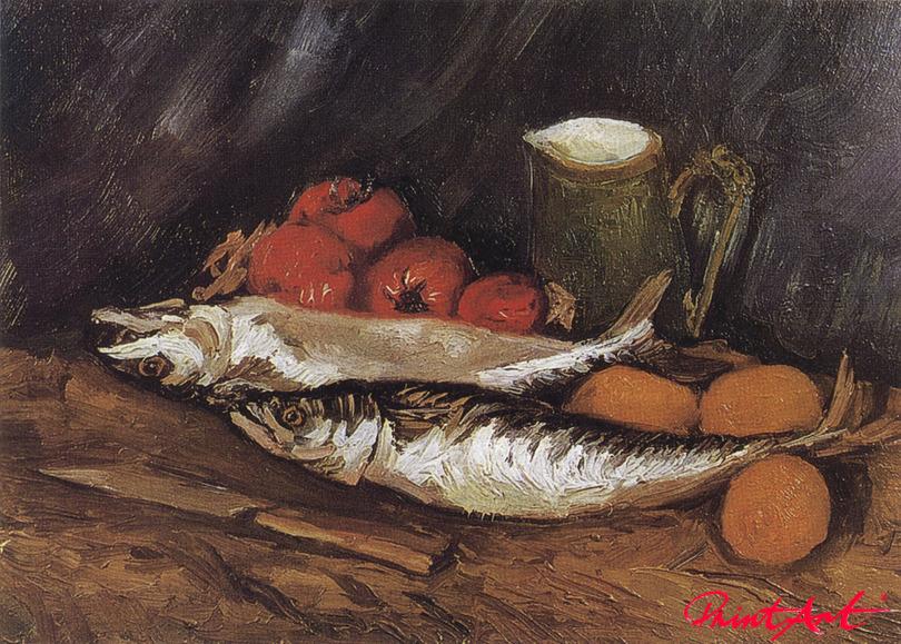 Stilleben mit Makrelen, Zitronen und Tomaten Van Gogh Vincent