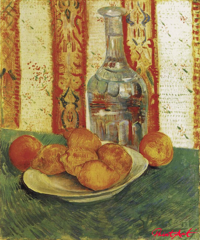 Stilleben mit Flasche und Zitronen auf einem Teller Van Gogh Vincent