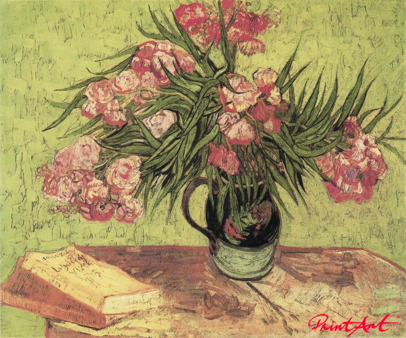 Stilleben: Vase mit Oleander und Bücher Van Gogh Vincent