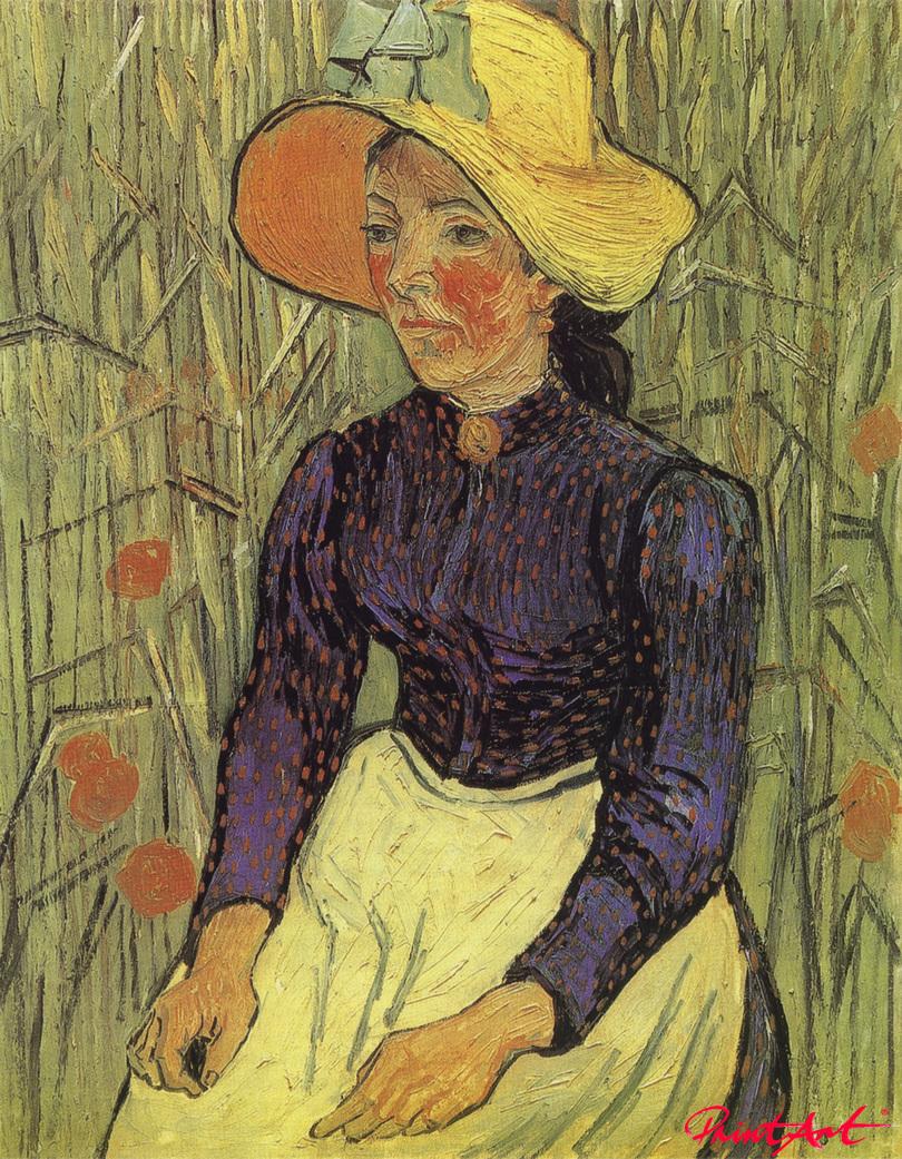 Bäuerin mit Strohhut, vor einem Getreidefeld sitzend Van Gogh Vincent