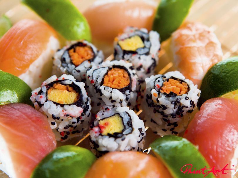 Sushi mit Zitrus Essen