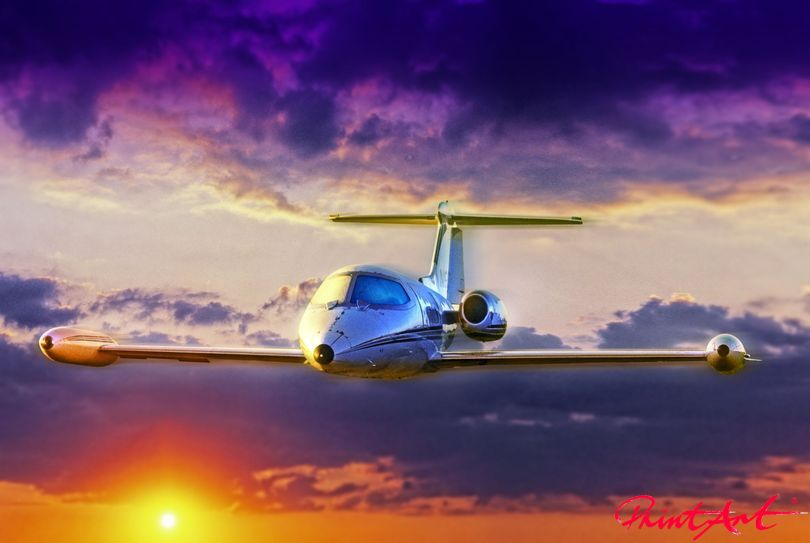 Business Jet Abendstimmung Flugzeuge