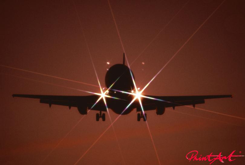 Landeanflug Abendstimmung Flugzeuge