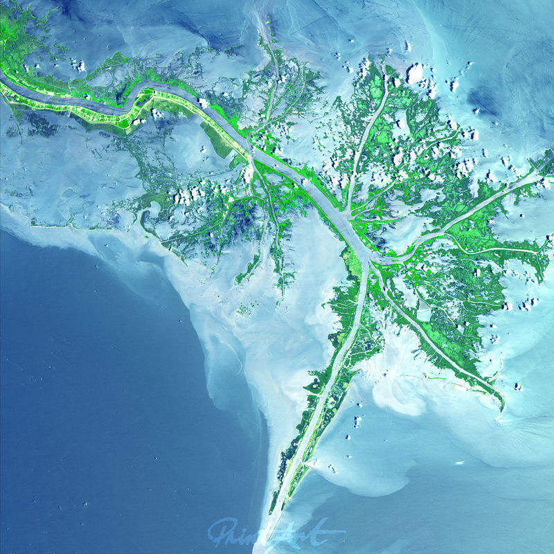 Mississippi River Delta World As Art (Satelitenbilder)