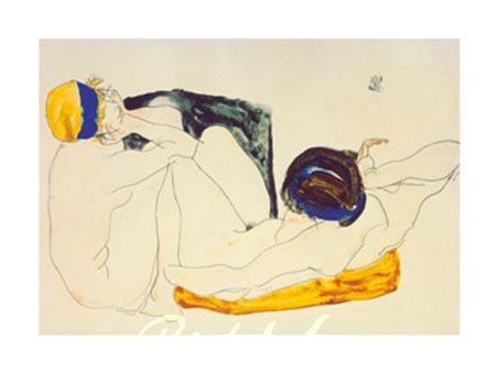 Zwei liegende Figuren Kunstdruck Schiele Egon