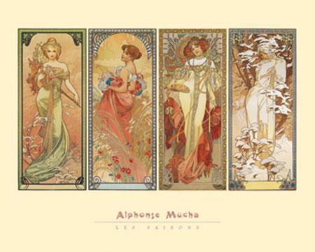 Les Saisons, 1900 Kunstdruck Mucha Alphonse Marie