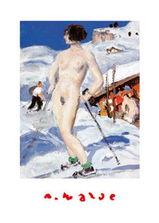 Nackte vor Almhütte Kunstdruck Walde Alfons