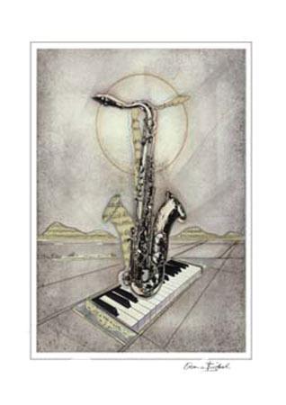 Saxophon Kunstdruck mit Folienprägung Birkel Armin