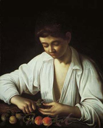 Ragazzo che sbuccia un frutto Kunstdruck Caravaggio