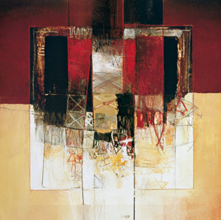 Composizione in rosso Kunstdruck mit Folienprägung Censini Giuliano