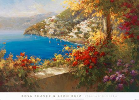 Italien Riviera Kunstdruck Chavez Rosa & Ru